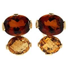 Oval Citrine Gold Clip Earrings