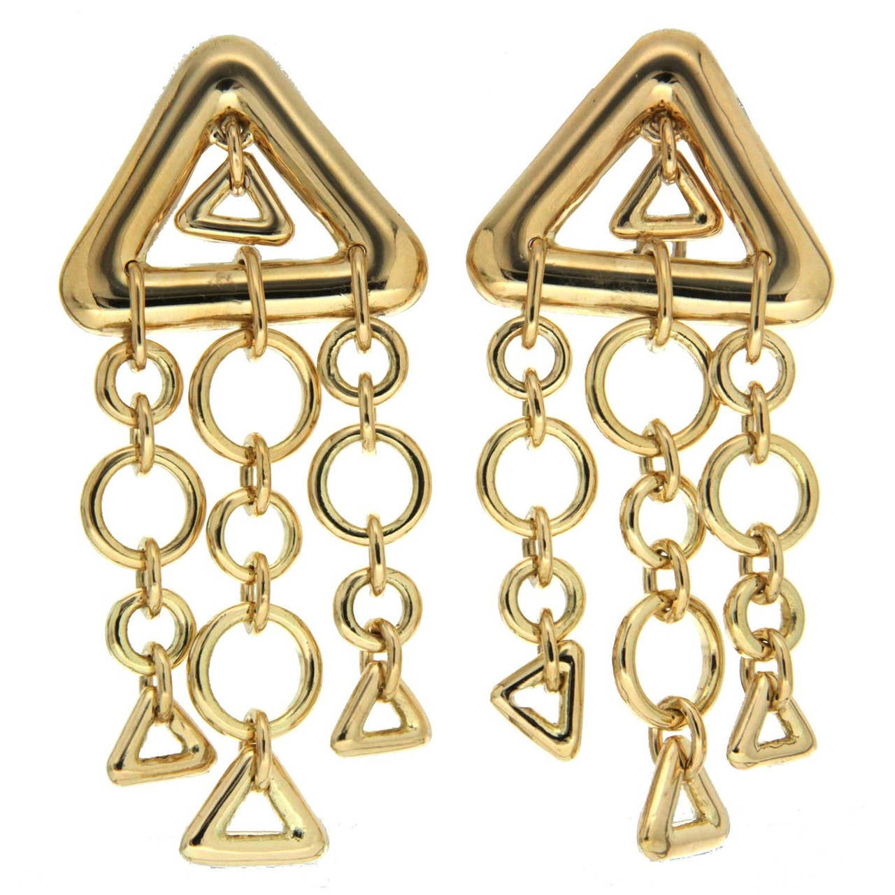 gold triangles and circles dangle earrings at 1stdibs. Black Bedroom Furniture Sets. Home Design Ideas