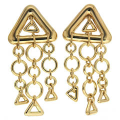 Gold Triangles and Circles Dangle Earrings