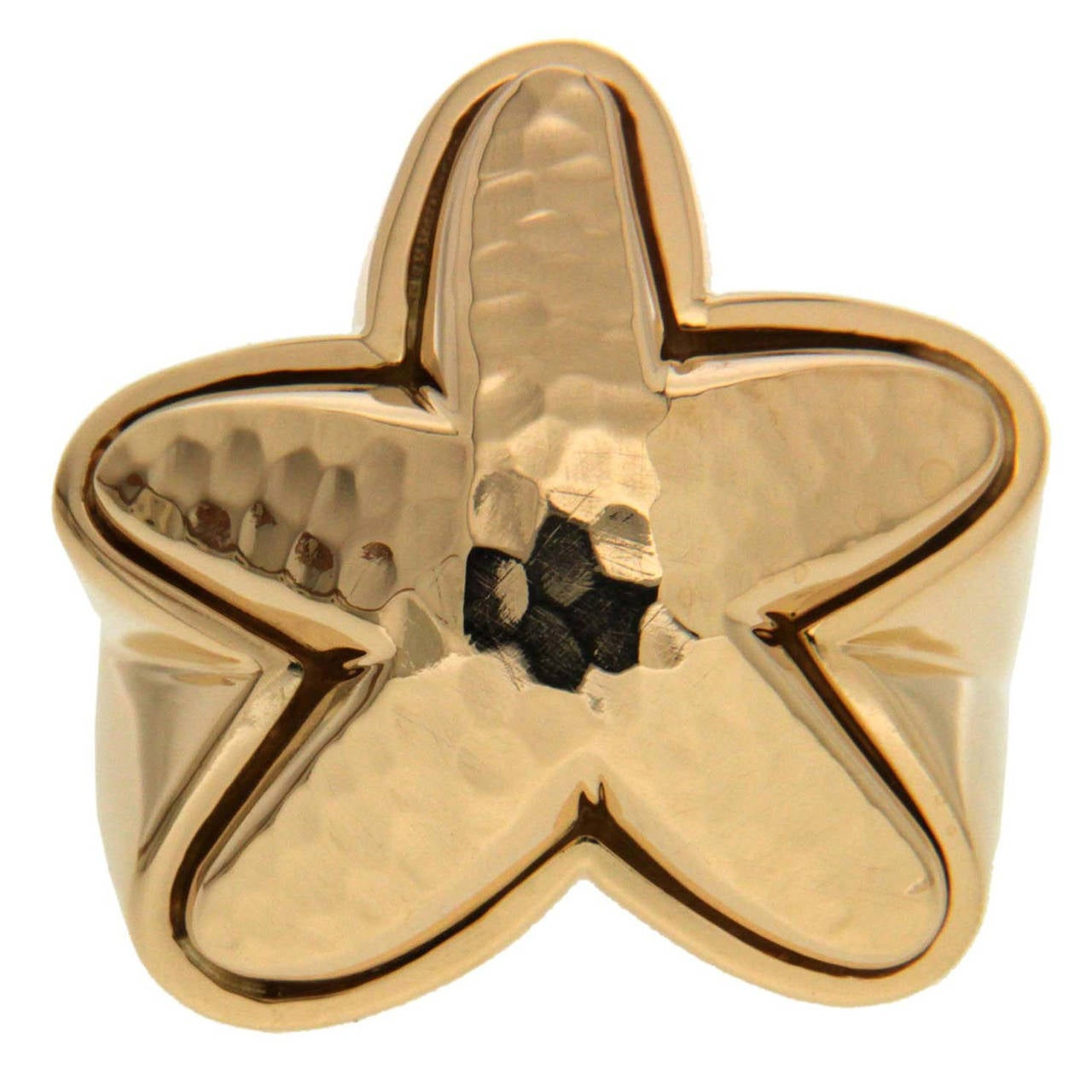 Gold Starfish Ring with Textured Finish For Sale