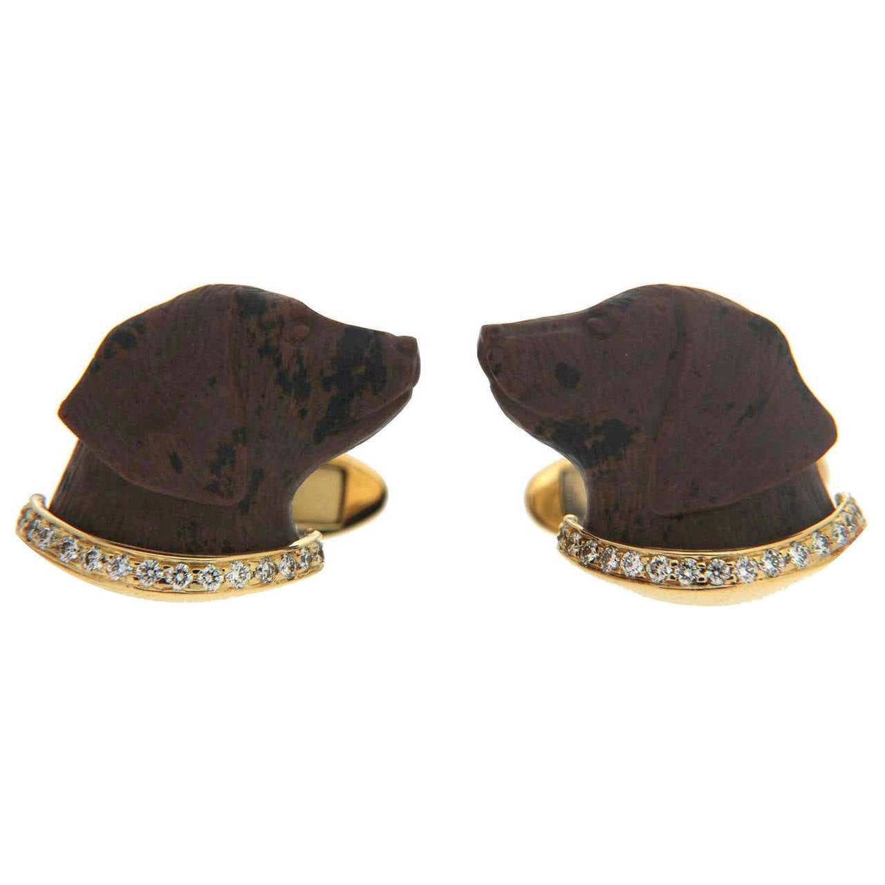 Valentin Magro Obsidian and Diamond Gold Labrador Cufflinks