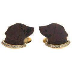 Obsidian Diamond Gold Labrador Dog Cufflinks