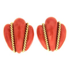 Coral Bee Earrings with Twisted Gold Wires