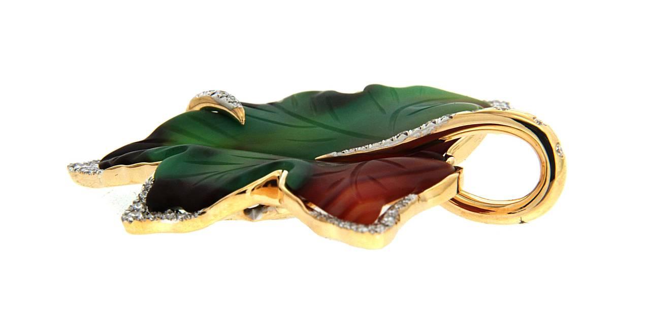 Agate Diamond Gold Leaf Pendant 4