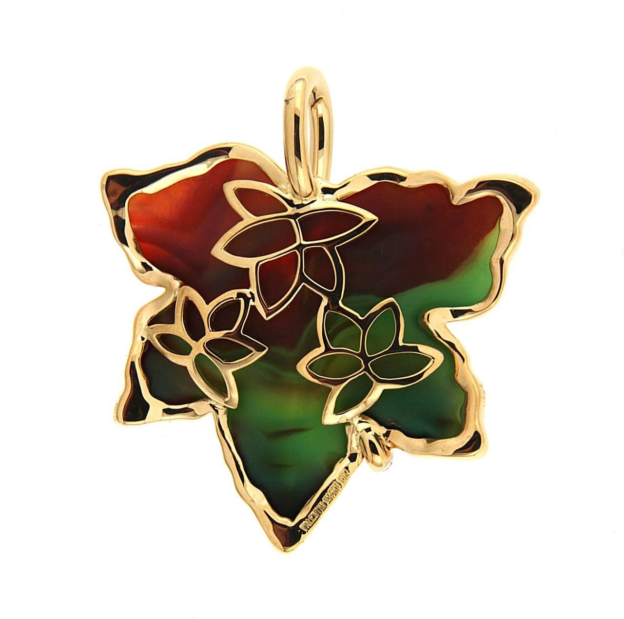 Agate Diamond Gold Leaf Pendant 3