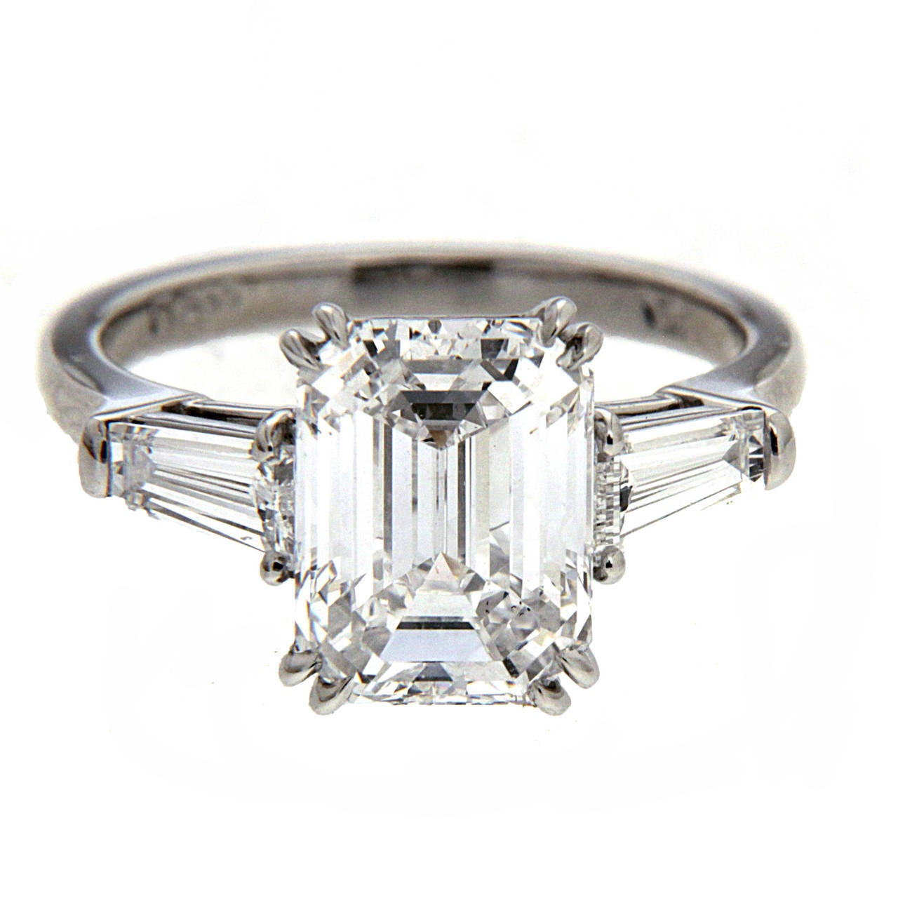 3 25 Carat GIA Cert Center Emerald Cut Diamond Platinum Engagement Ring at 1s