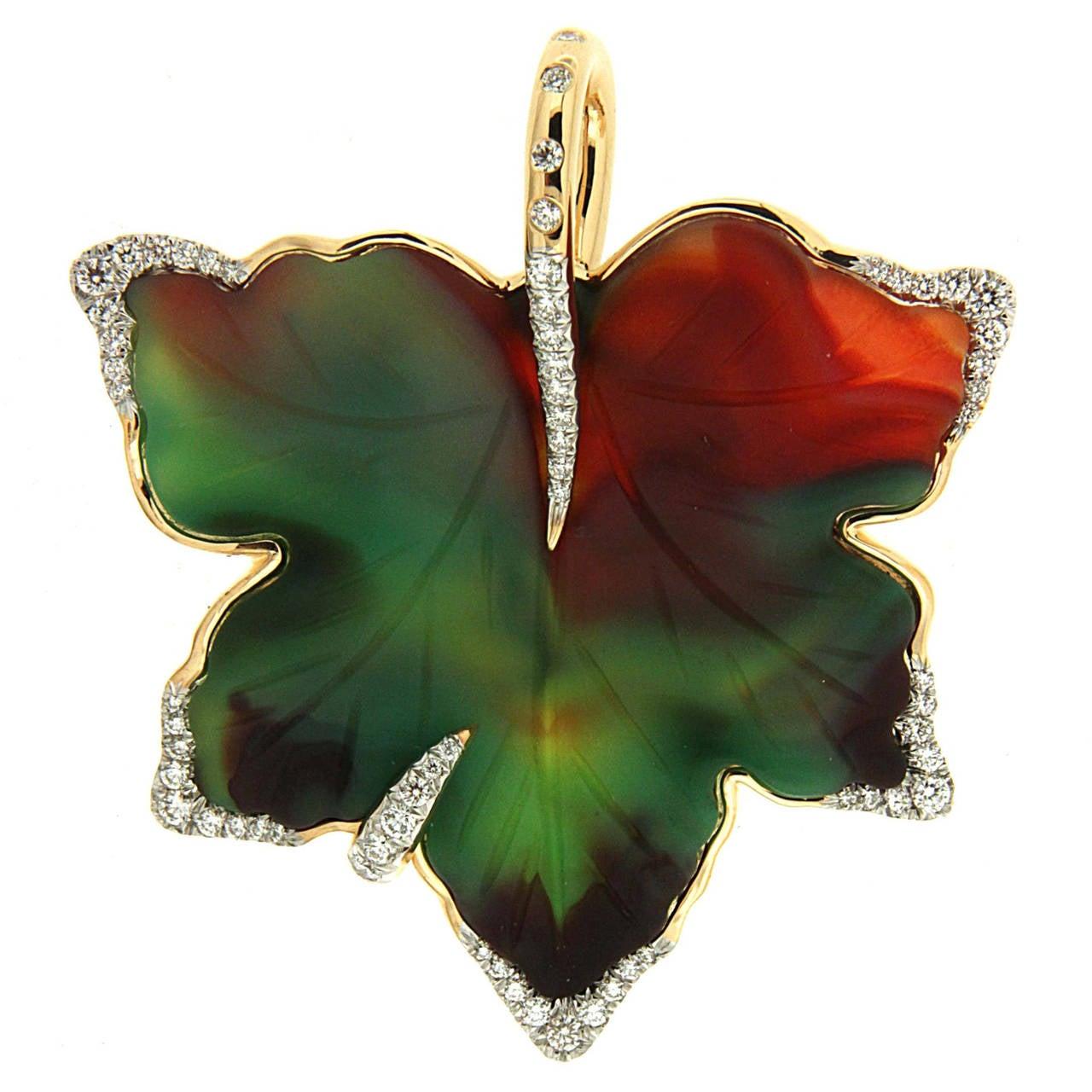 Valentin Magro Agate Diamond Gold Leaf Pendant