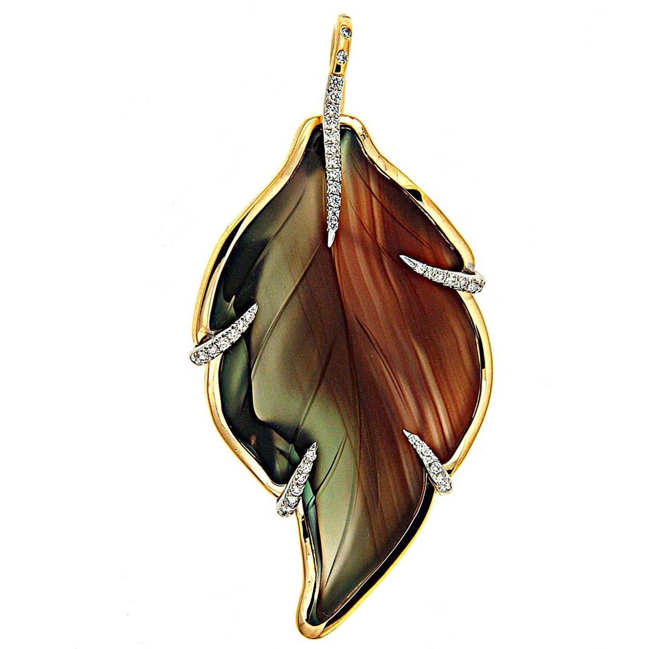 Long Agate Leaf Diamond Gold Pendant For Sale