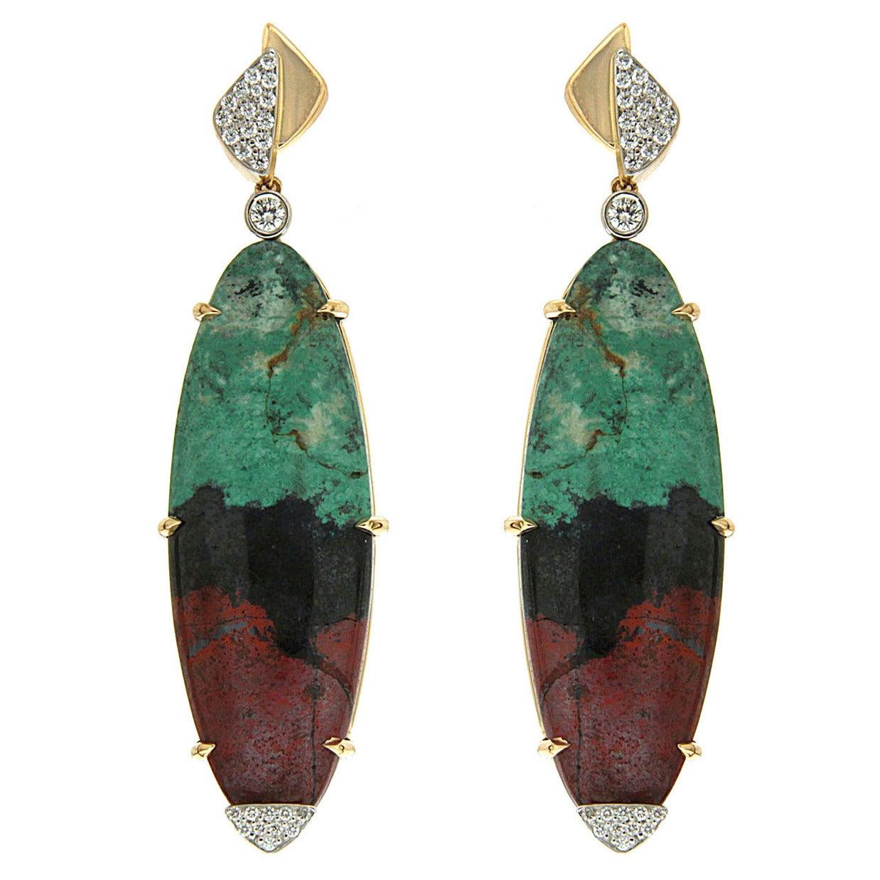 Senoran Sunset Diamond Gold Dangle Earrings