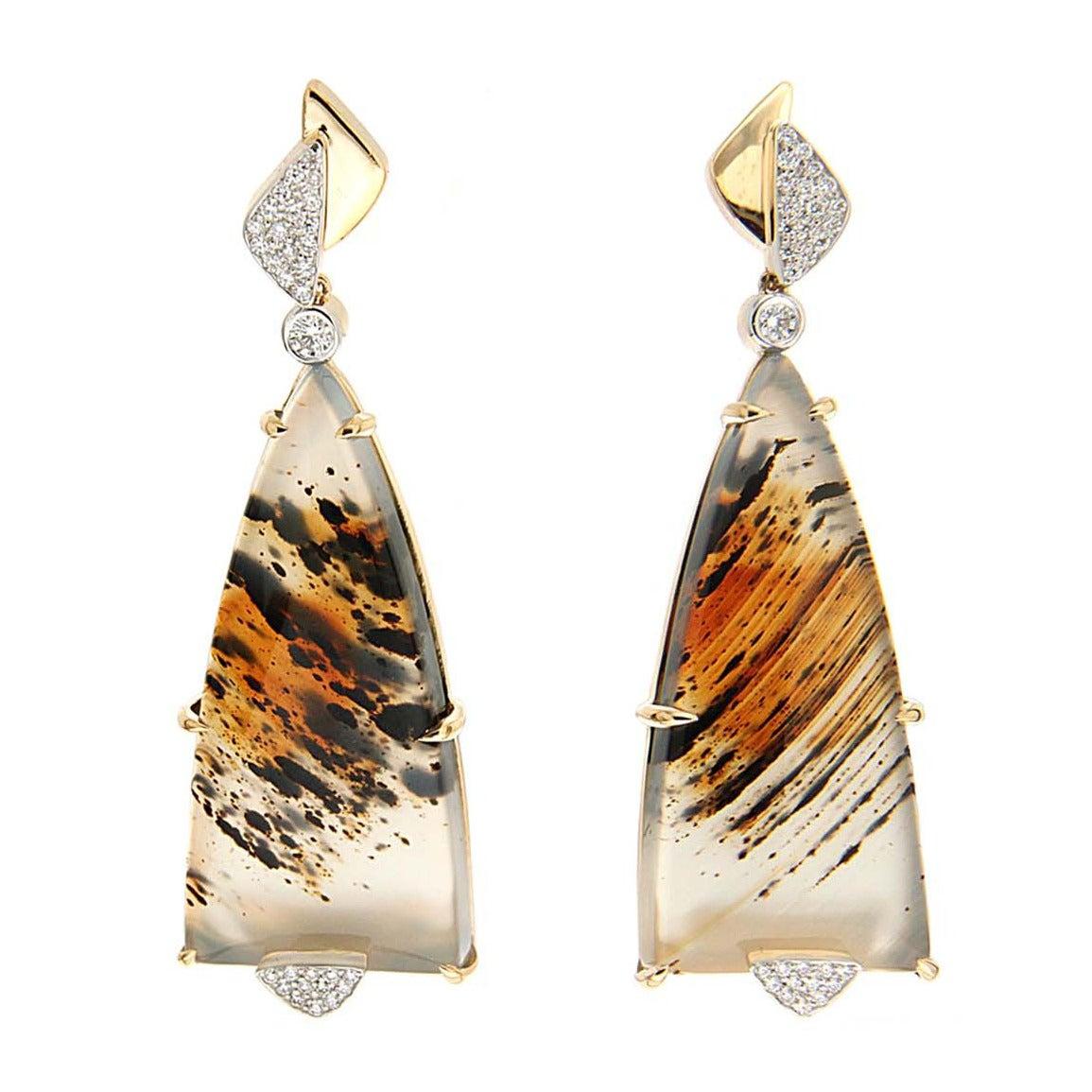 Montana Agate Diamond Gold Earrings
