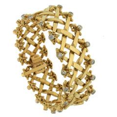 Gold Woven Bracelet with Diamonds