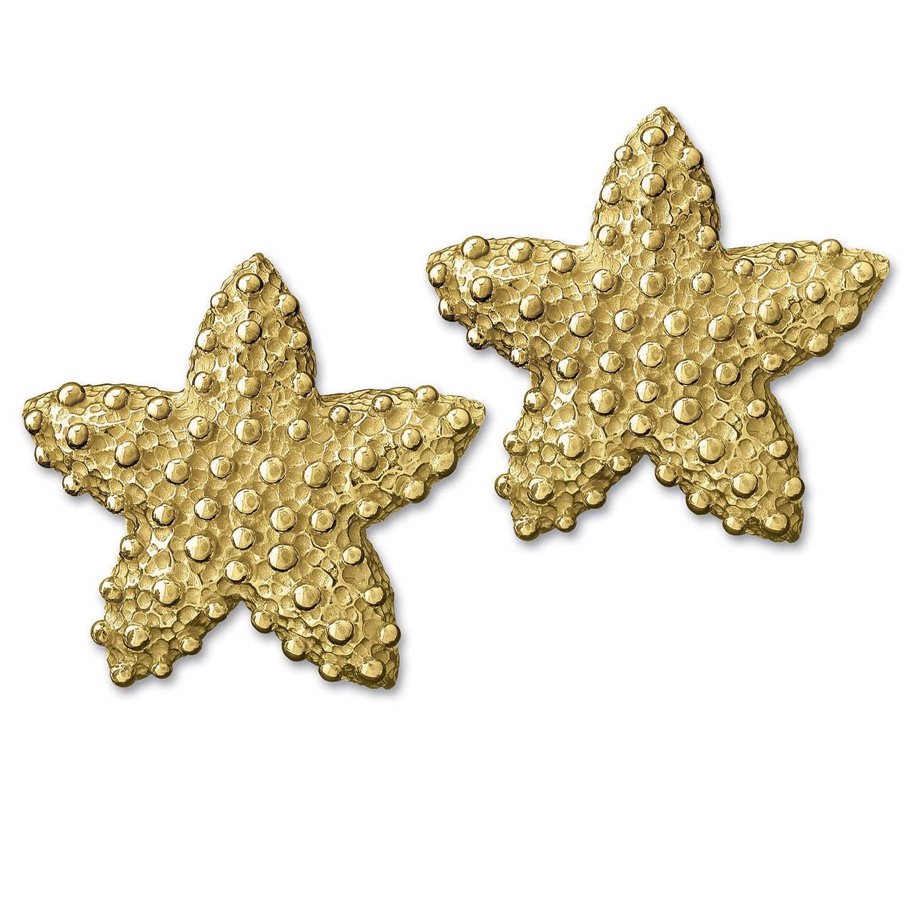 gold starfish shell earrings