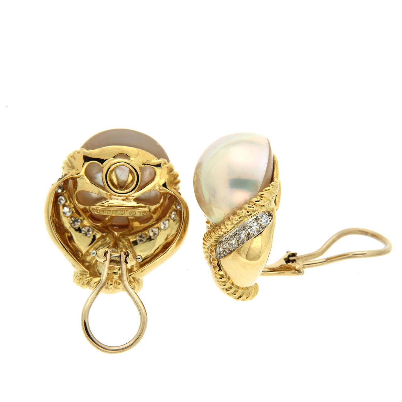Mabe Pearl earrings surrounded by 18K Yellow Gold Twisted ropes and Round Diamonds