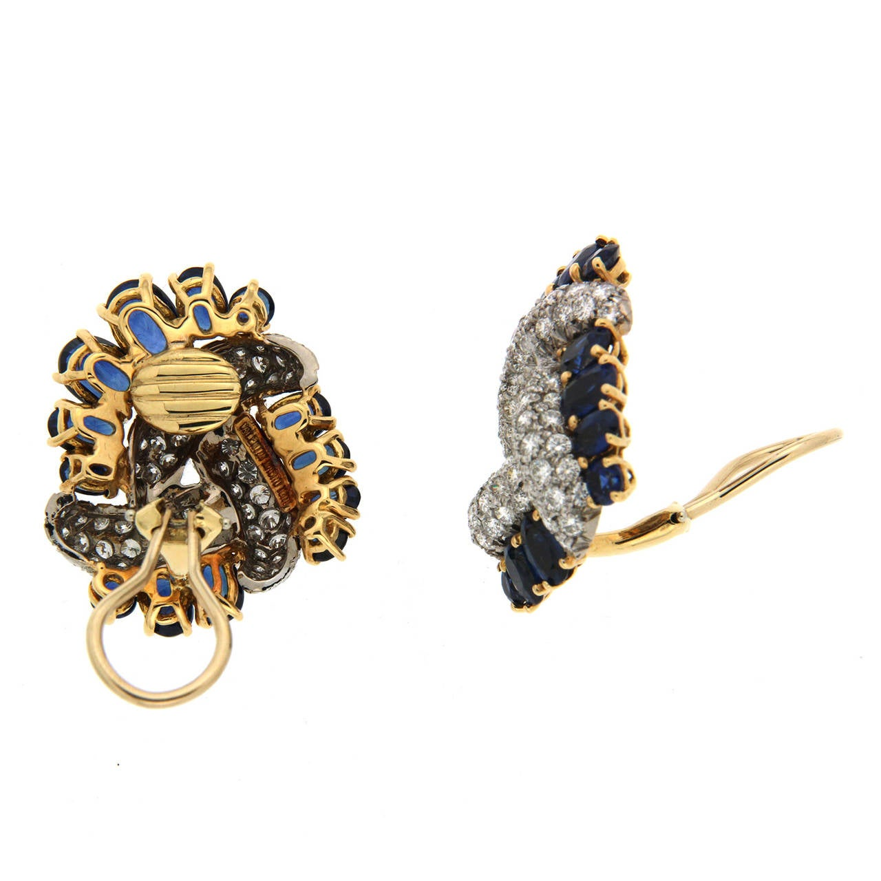 Triple Swirl Earrings with Sapphires and Diamonds 2