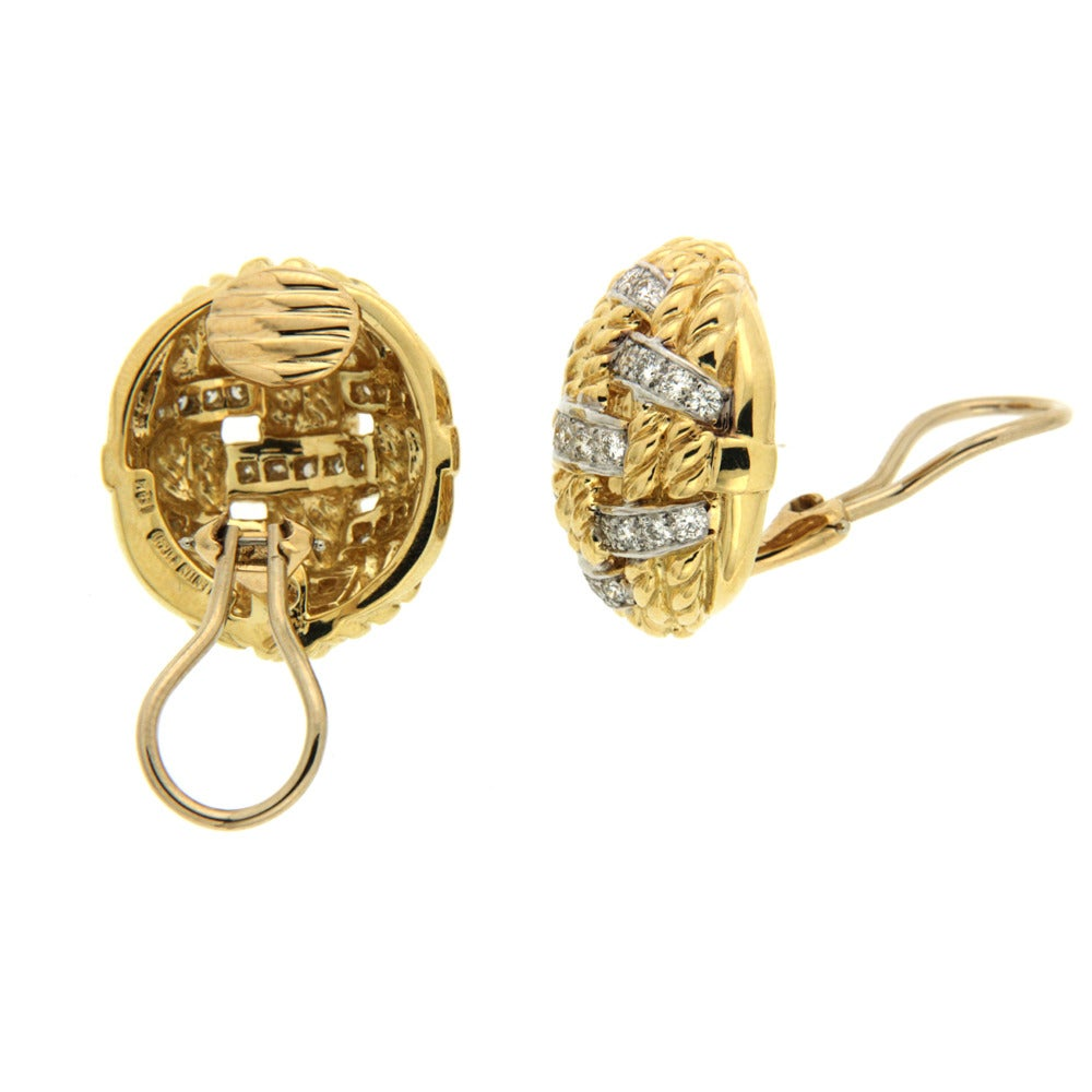 Woven rope earrings in 18kt yellow with diamonds. Diamond total weight 1.61ct
