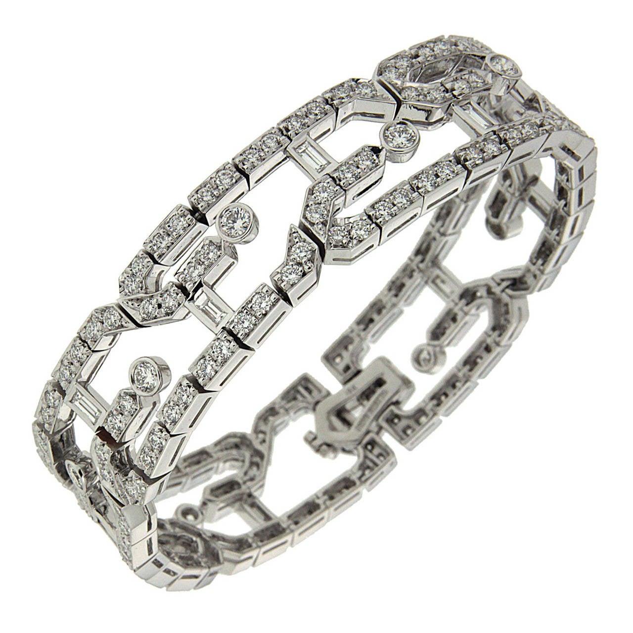 Valentin Magro Geometric Diamond Gold Link Bracelet