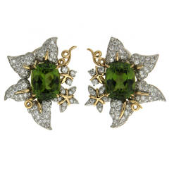 Peridot and Diamond Leaf Earrings