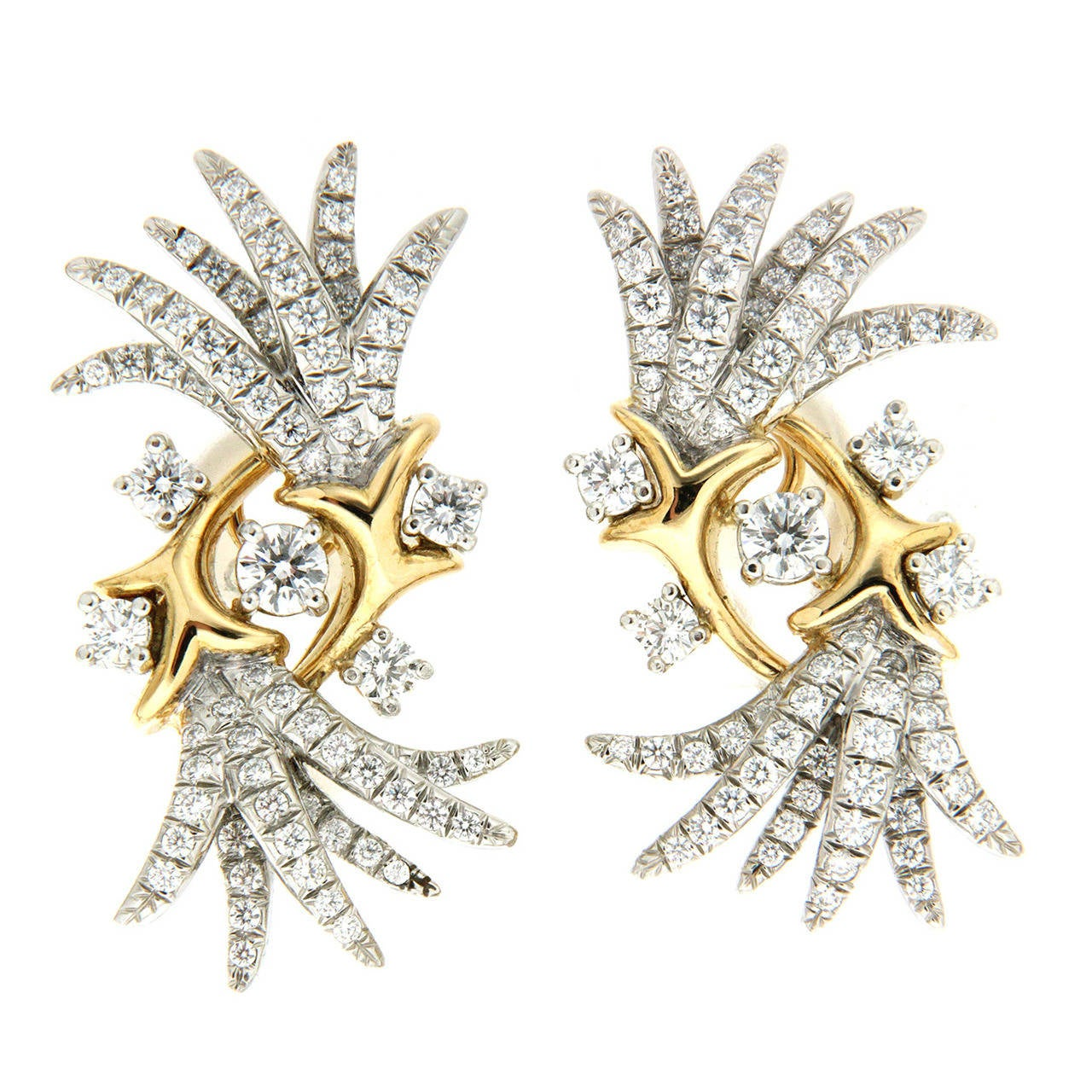 Valentin Magro Fountain of Dazzle Diamond Gold Platinum Earrings