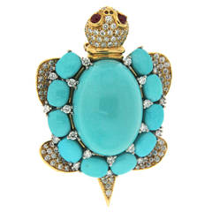 Valentin Magro Turquoise Diamond Gold Platinum Turtle Brooch