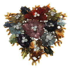 Valentin Magro Trellis Flower Semi Precious and Diamond Gold Brooch