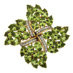 Four Point Peridot and Diamond Brooch