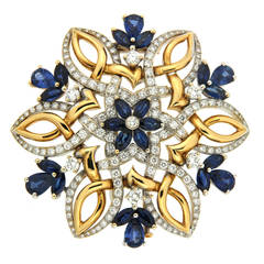 Valentin Magro Dolce Neve Sapphire Diamond Gold Brooch