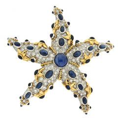 Sapphire Diamond Gold Starfish Brooch