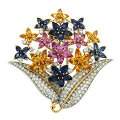 Fiori di Lucia Colored Sapphires Diamond Gold Platinum Brooch