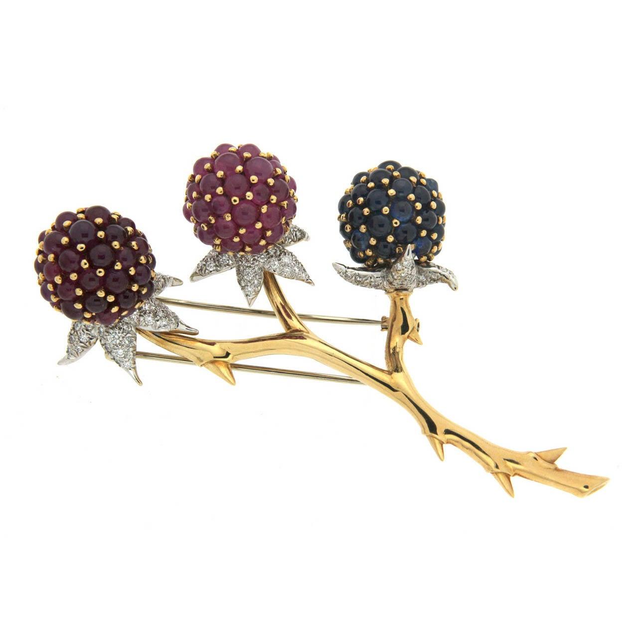 Tutti Frutti Sapphire Ruby Gold Brooch