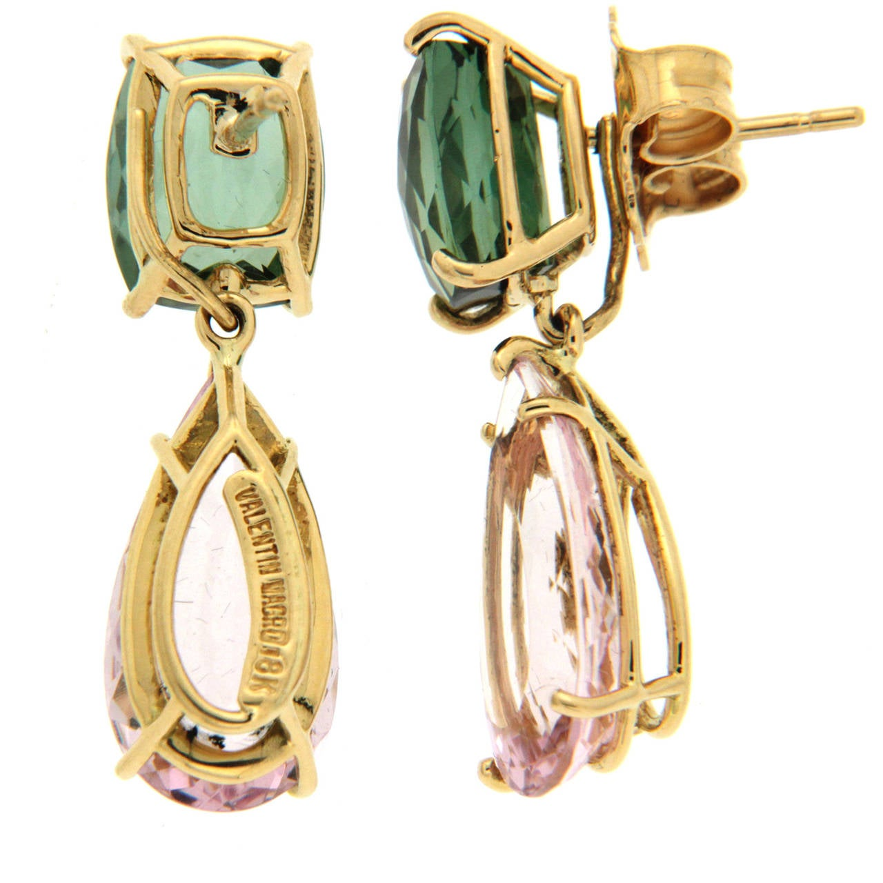 Green Tourmaline Morganite Gold Earrings 2