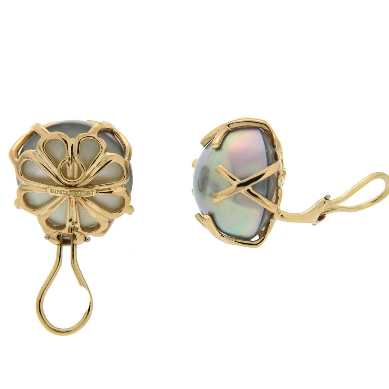 Gray Mabe Pearl Gold X Motif Earrings 2