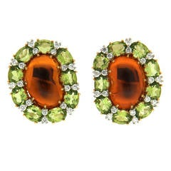 Colori Madeira Citrine Peridot Diamond Gold Kidney Earrings