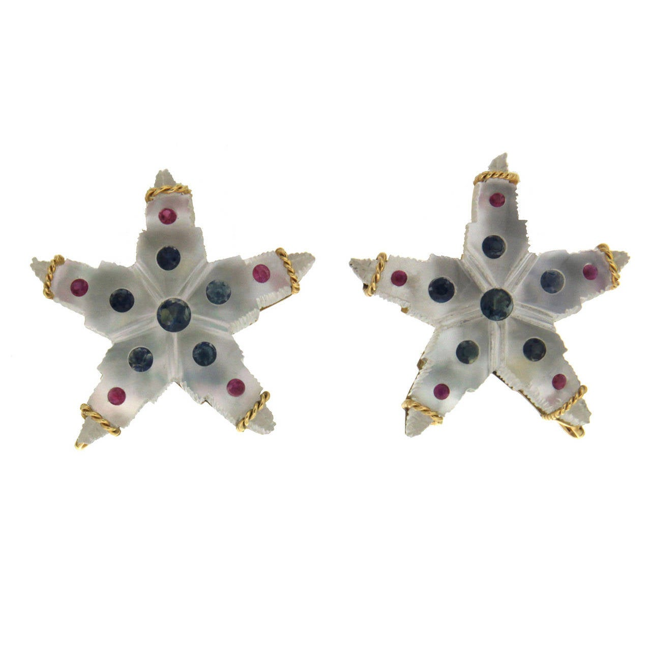 Valentin Magro Crystal Starfish Earrings with Colored Stones
