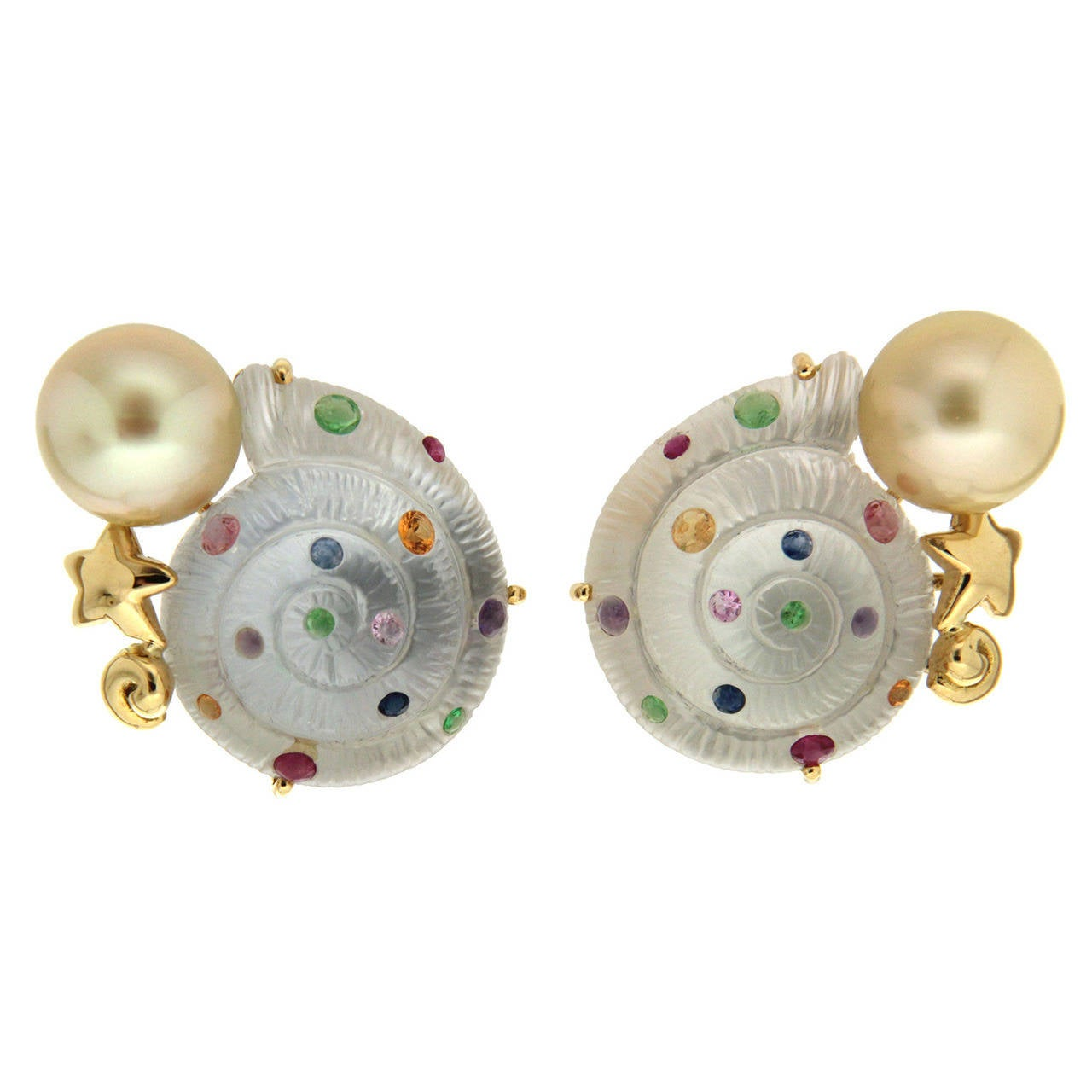 Crystal Snail Colored Stone Yellow Pearl Gold Earrings For Sale