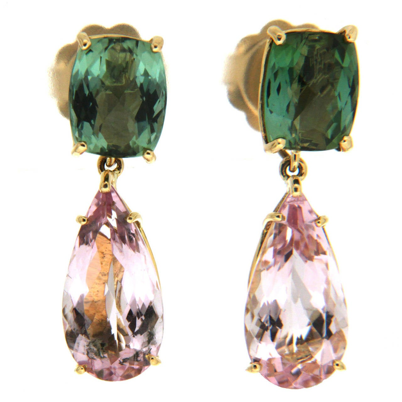 Green Tourmaline Morganite Gold Earrings 1