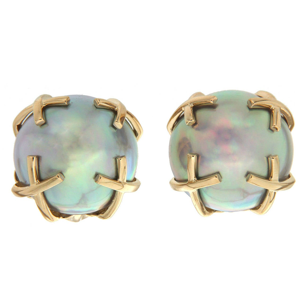 Gray Mabe Pearl Gold X Motif Earrings