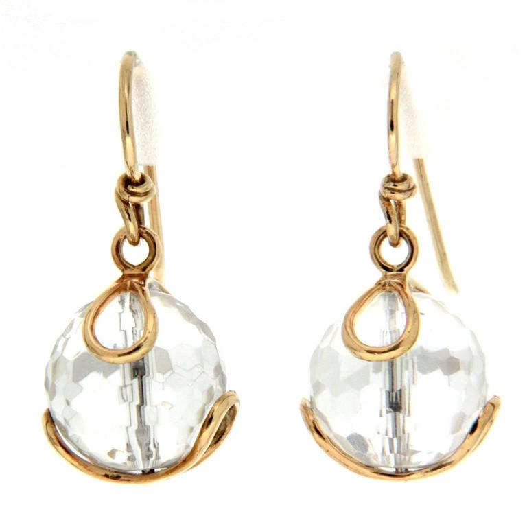 Valentin Magro Carina Faceted Crystal Ball Gold French Wire Earrings