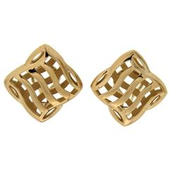 Large gold over and under Trellis Earrings
