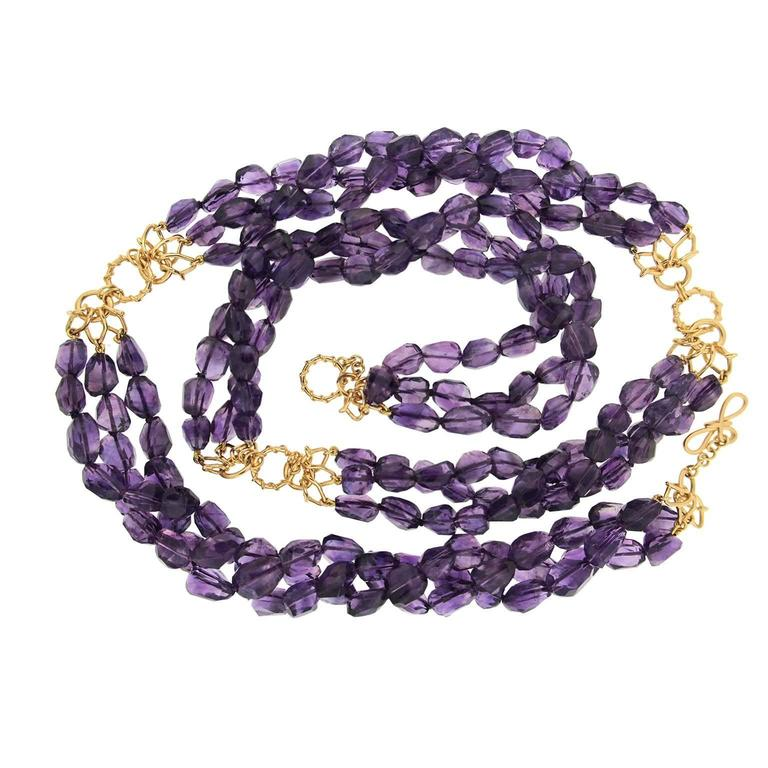 Faceted Dark Amethyst Gold Necklace 1