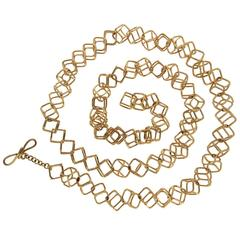 Geometric Cushion Interlocking Cube Medium Gold Necklace