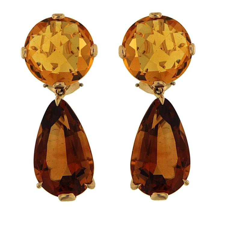 Citrine gold round and drop earrings