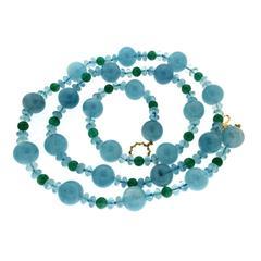 Valentin Magro Green Aventurine Aquamarine Gold Bead and Roundel Necklace