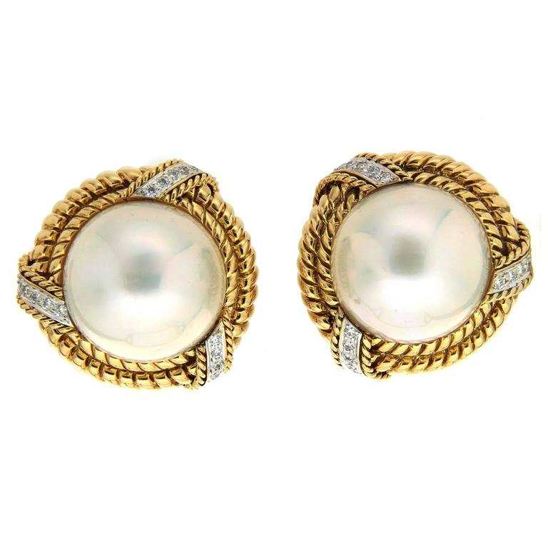 Mabe pearl Diamond Gold Twisted Rope Earrings  For Sale