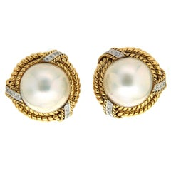 Mabe pearl Diamond Gold Twisted Rope Earrings