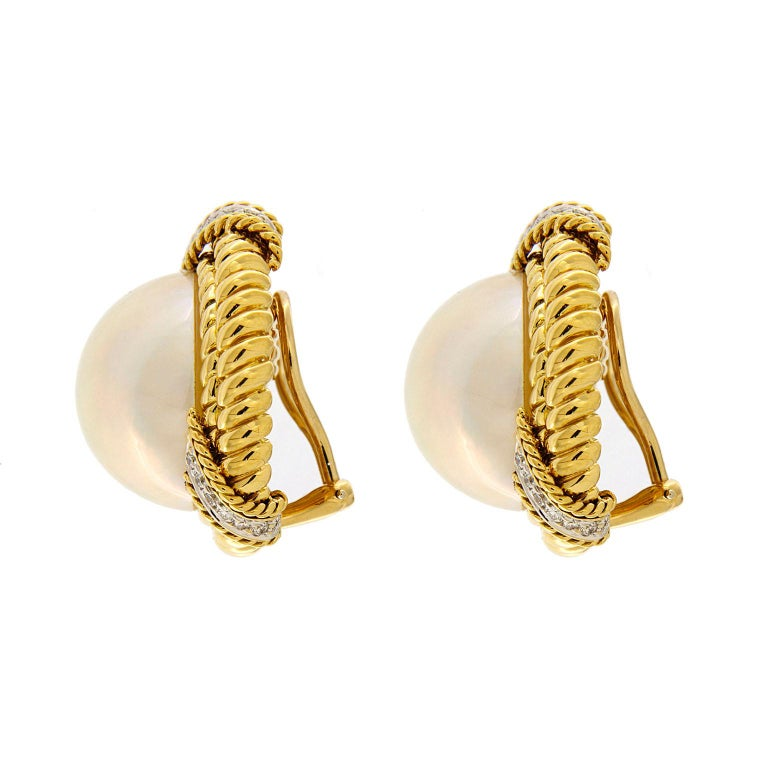 Women's Mabe pearl Diamond Gold Twisted Rope Earrings  For Sale