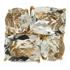 Cushion and Round Crystal Gold Trellis Ring