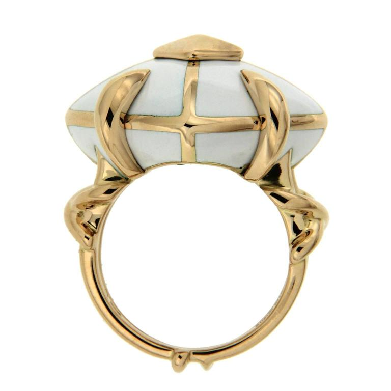cushion white enamel gold ring for sale at 1stdibs