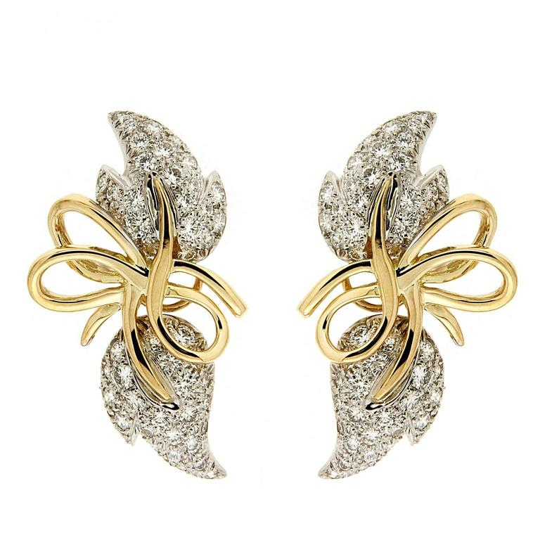 Valentin Magro Diamond Gold Leaf Earrings