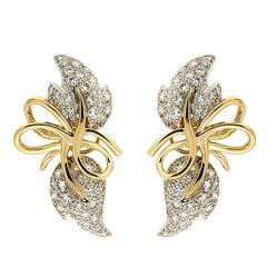 Valentin Magro Diamond Gold Leaf Earrings
