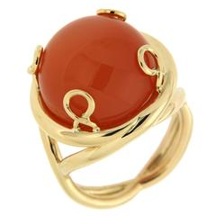 Valentin Magro Orange Moonstone Cabochon Gold Ring
